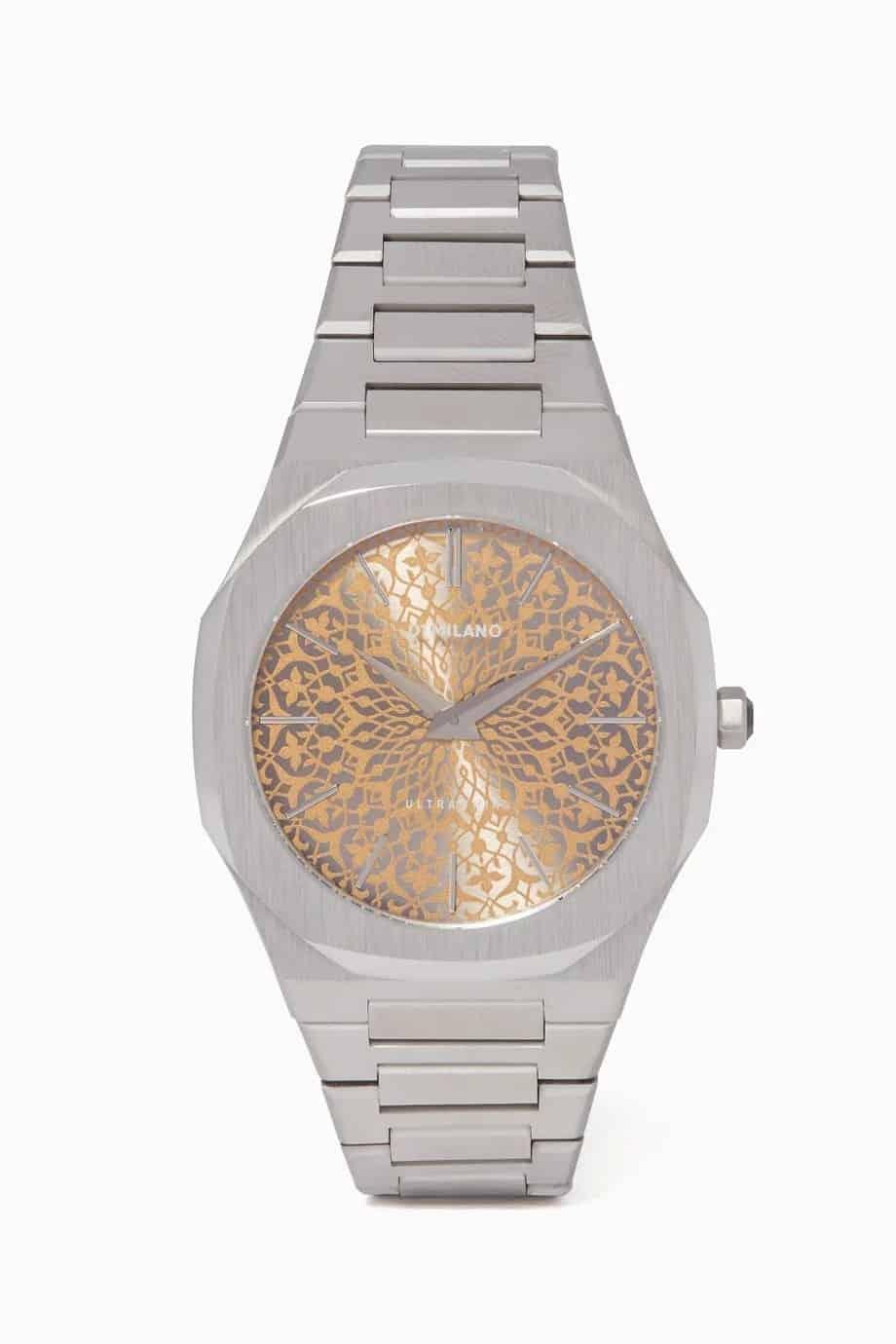 ساعة بتصميم رفيع فضي وذهبي وردي