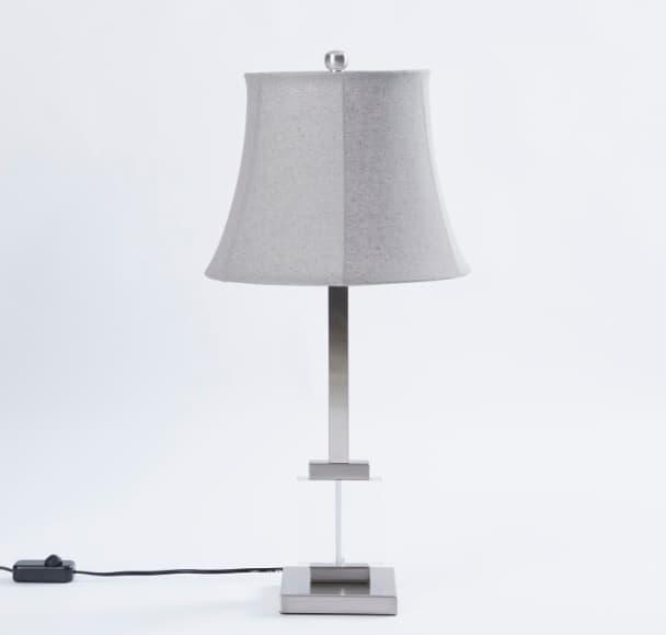 مصباح طاولة أسطواني زجاجي ميتاليك - 33x33x69 سم