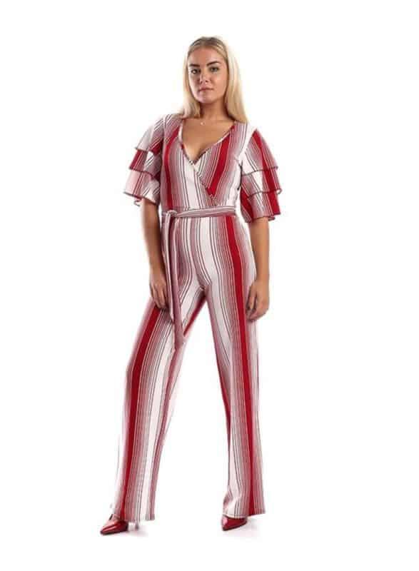 Bell Sleeve Scoop Neck Jumpsuit أحمر داكن