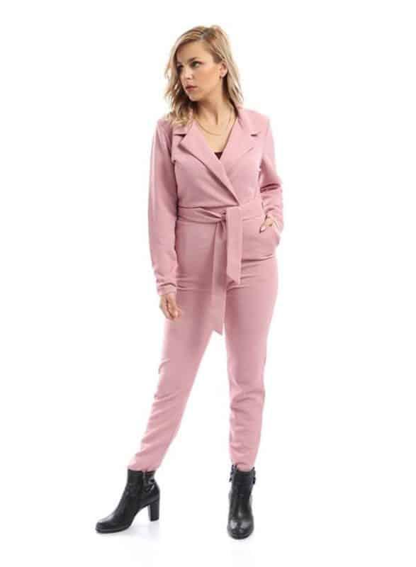 V Neck Plain Jumpsuit وردي