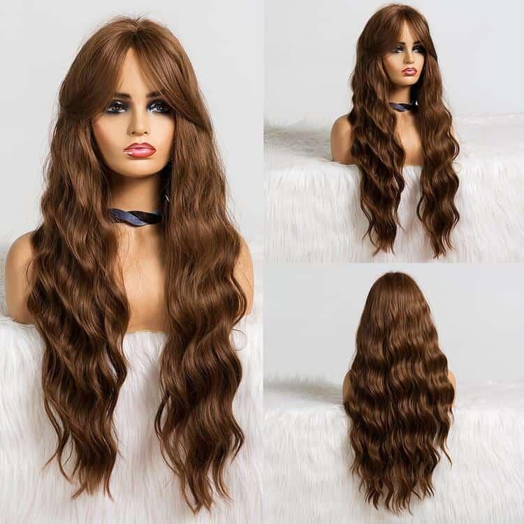 للنساء صِنَاعِيّ شعر شعر مستعار الموضة طويل متجعد عادي انيق إكسسوارات